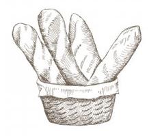 grabado cesta pan